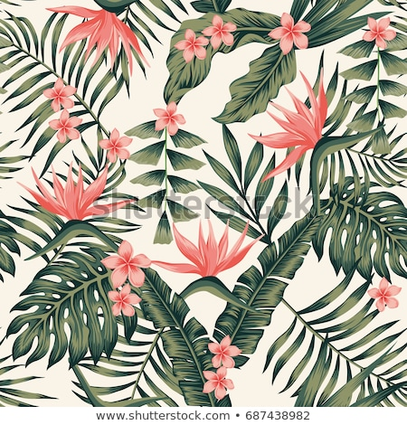 seamless tropical pattern with white leaves and red flowers on w stock photo © bluelela