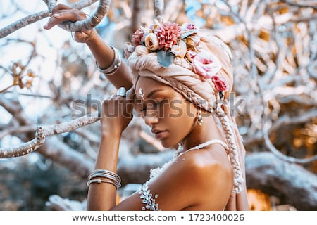 mooie · vrouw · wild · oranje · toga · vrouw - stockfoto © gsermek