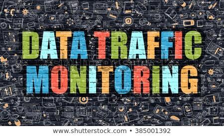 Adat forgalom ellenőrzés sötét téglafal firka Stock fotó © tashatuvango