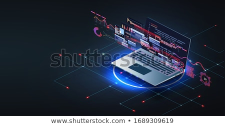 Monitor kód bitcoin valuta kirakat fehér Stock fotó © romvo