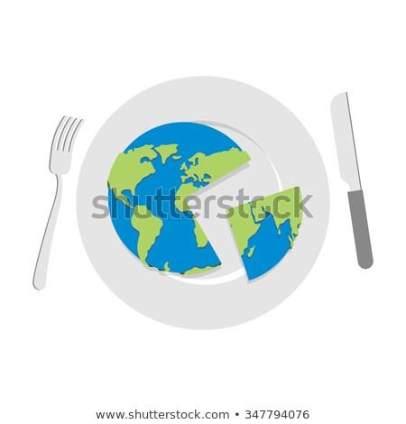 Tierra placa mundo corte cuchillo cubiertos Foto stock © popaukropa