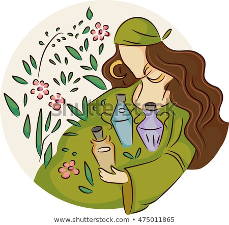 Girl Gypsy Wild Plants Potions Stock photo © lenm
