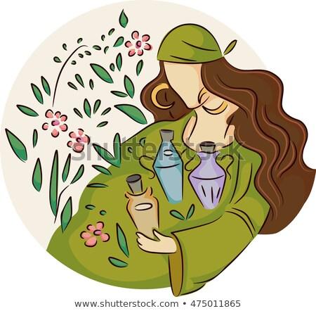 Girl Gypsy Wild Plants Potions Stock photo © lenm