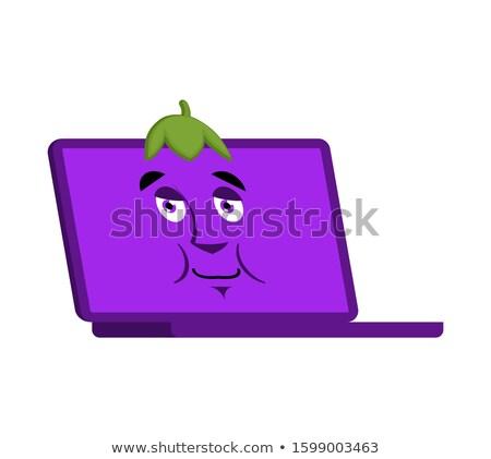 Laptop padlizsán arc avatar számítógép lila Stock fotó © popaukropa