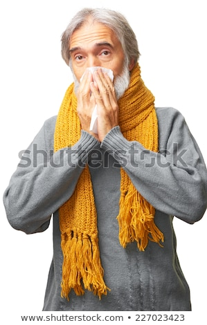 Middle aged man with scarf and tissue Stock photo © IS2