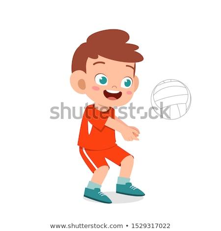 Foto stock: Menino · jogar · vôlei · bola · diversão · energia