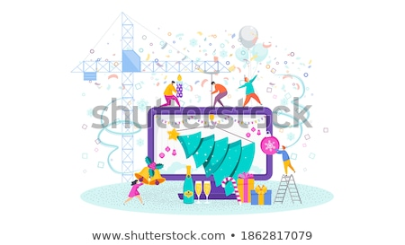 Woman dragging home Christmas tree Stock photo © IS2