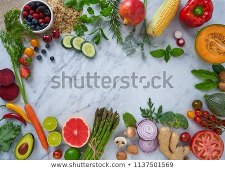 healthy food vegetables for heart heath on marble stock photo © lunamarina