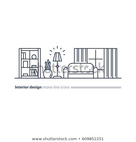 curtain home interior design vector illustration stock photo © robuart