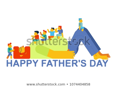 Dad plays with children. Kids sitting on their father stomach. F Stock photo © popaukropa