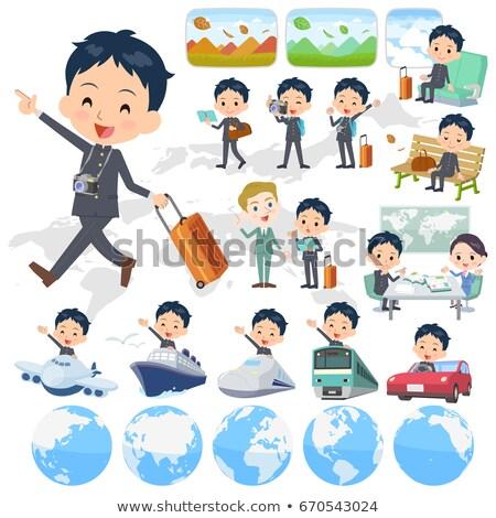 Schooljongen reizen ingesteld landschap wereld Stockfoto © toyotoyo