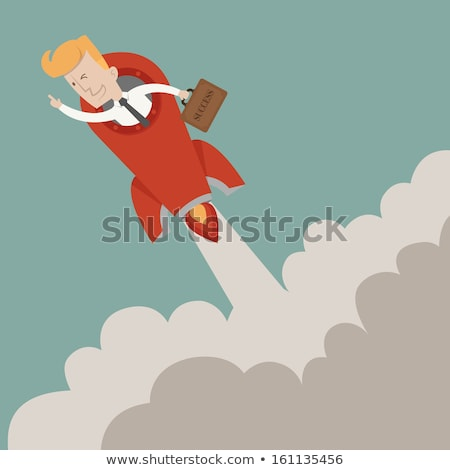 Rocket flying on chart of growth. Business growth. Stock photo © cifotart