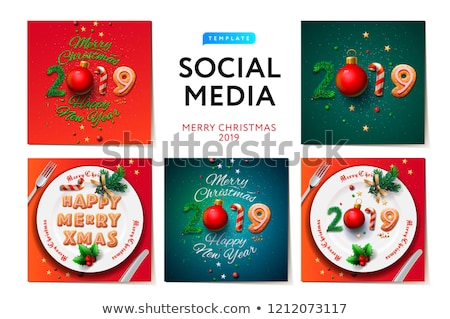 Merry Christmas 2019 social media templates, modern promotion web banners for social media mobile ap Stock photo © ikopylov
