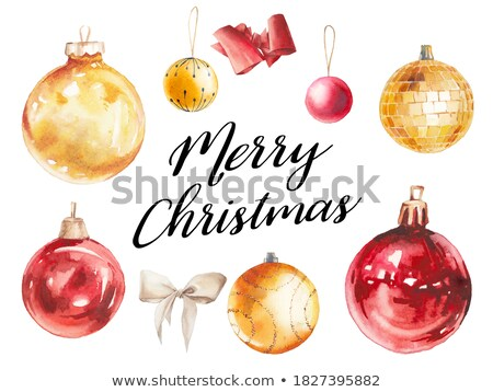 Stock photo: Watercolor red Christmas ball isolated on a white background.