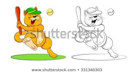 Cartoon souriant joueur de baseball chaton Photo stock © cthoman