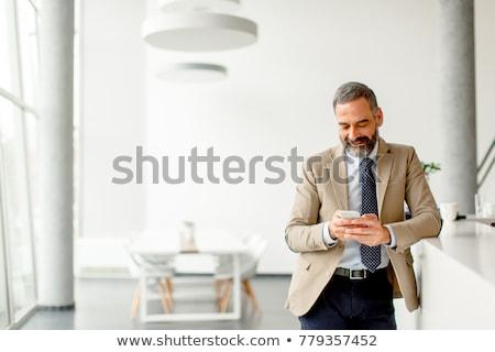 Foto stock: Bonito · maduro · empresário · telefone · móvel · escritório · telefone