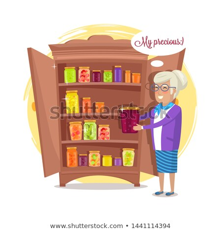 Granny and Fruit and Vegetables Conservation Shelf Stock photo © robuart