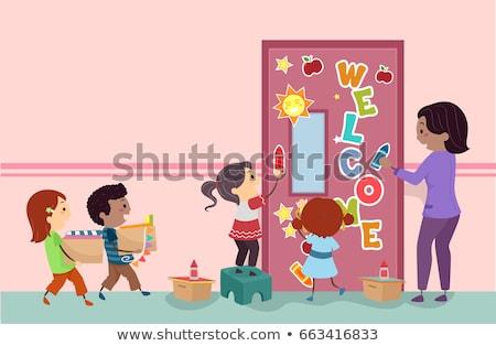 Сток-фото: дети · классе · двери · иллюстрация · студентов