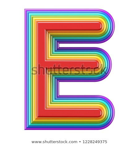 concentric rainbow font letter e 3d stock photo © djmilic