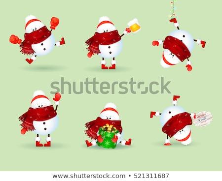 vidám · karácsony · derűs · hóember · sör · hó - stock fotó © ori-artiste