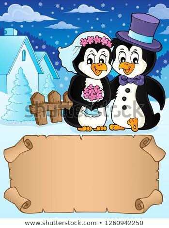 небольшой пергаменте пингвин свадьба цветок бумаги Сток-фото © clairev