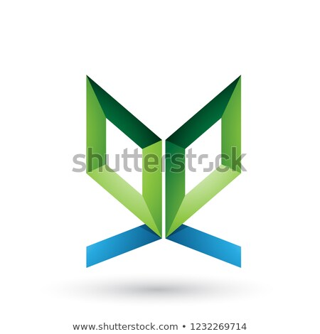 Green and Blue Double Sided Butterfly Like Letter E Vector Illus Stock photo © cidepix