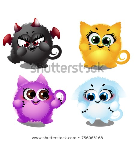 Set of funny colorful fantasy pets with big trusting eyes isolated on white background. Elements to  Stock photo © Lady-Luck