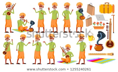 Indian Old Man Poses Set Vector. Elderly People. Senior Person. Hindu. Asian. Aged. Smile. Web, Post Stock photo © pikepicture
