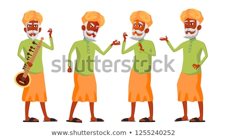 indian old man set vector elderly people hindu senior person aged comic pensioner lifestyle c stock photo © pikepicture