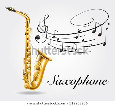 Saxophone and music notes on poster Stock photo © colematt