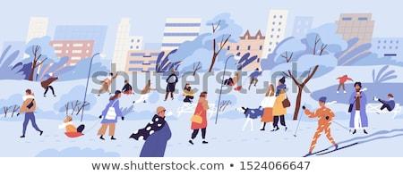 Hiver bonhomme de neige enfants familles activité vecteur Photo stock © robuart