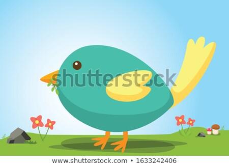 Cartoon phoenix vergadering illustratie brand dier Stockfoto © cthoman