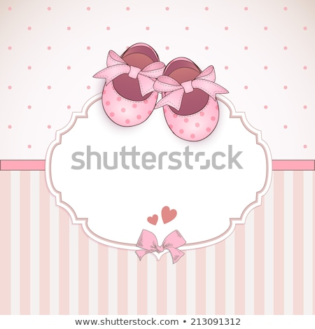 Pink baby shoes place card Stock photo © Dazdraperma