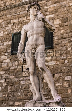 Foto stock: Reproduction Of Michelangelo Statue David In Front Of Palazzo Ve