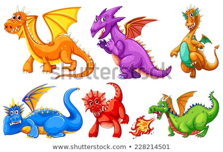 Set of angry dragon Stock photo © colematt