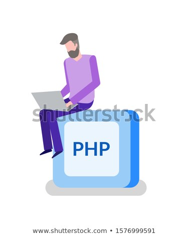 PHP Button, Programming or Coding, Man Programmer Stock photo © robuart