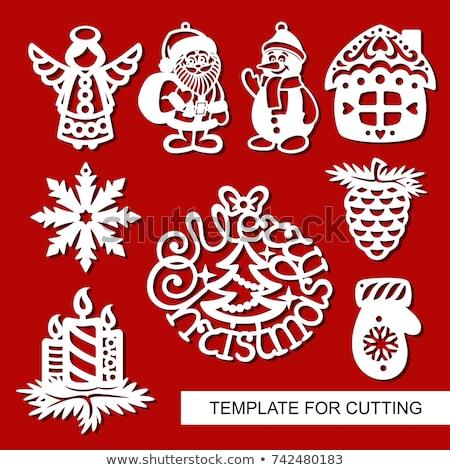 ストックフォト: 陽気な · クリスマス · 紙 · カット · 雪だるま · 松