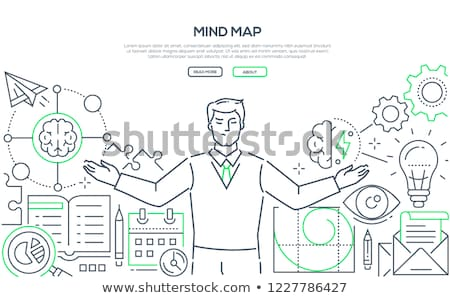 Mindfulness at work - modern line design style illustration Stock photo © Decorwithme