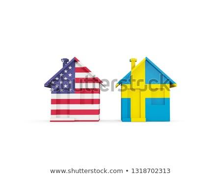 Dois casas bandeiras Estados Unidos Suécia isolado Foto stock © MikhailMishchenko