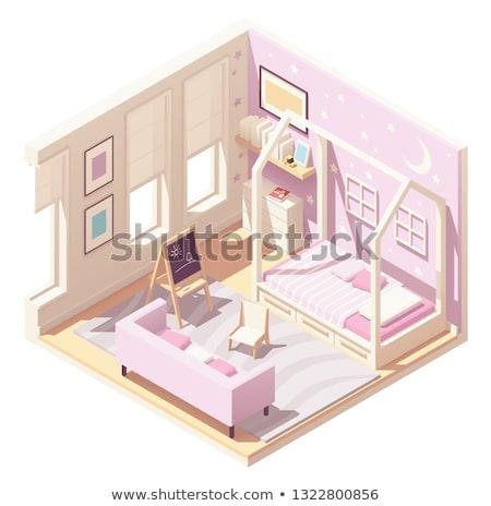 Vector isometric children's room Stock photo © tele52