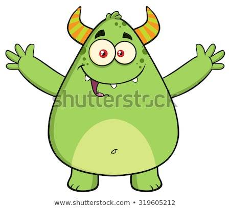 funny horned green monster cartoon character with welcoming open arms and speech bubble stock photo © hittoon