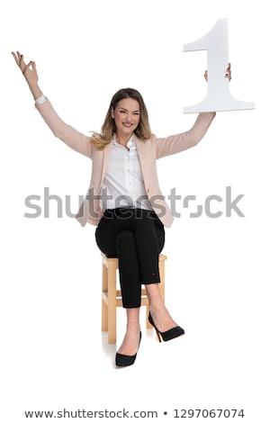 Empresária cadeira primeiro lugar branco mãos ar Foto stock © feedough