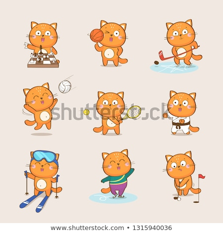 Stock photo: differences game with cartoon cat characters