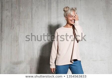 Joli blond dame couvert coloré poudre Photo stock © konradbak