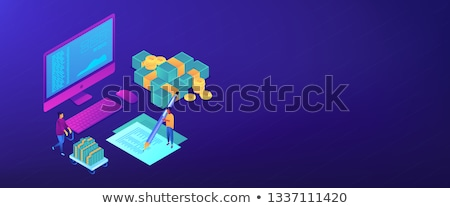 Cash flow statement isometric 3D banner header. Stock photo © RAStudio
