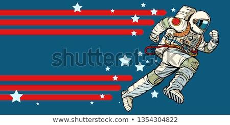 астронавт вперед звезды Вселенной Поп-арт ретро Сток-фото © studiostoks