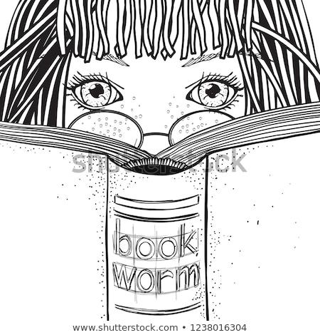 Firka lány olvas könyv illusztráció háttér Stock fotó © colematt
