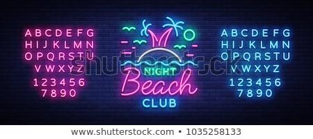 пляж вечеринка неоновых Label морем поощрения Сток-фото © Anna_leni