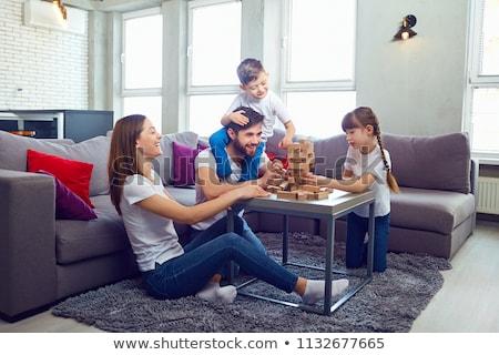 mamma · spelen · twee · kinderen · vloer · home - stockfoto © choreograph