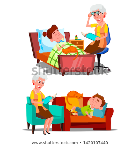 Foto d'archivio: Grandmother Reading Nighttime Story Book Vector